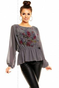 Bluzeczka Moda Flower 10774 ciemna szara
