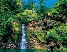 Puahokamoa Falls (off the Hana Highway), Maui, Hawaii USA Hawaii Usa, Maui Hawaii, Go Green, Waterfall, Calendar, Environment, Business Organization, Advertising Campaign, Hana