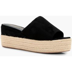 Boohoo Lucy Espadrille Platform Slider (£38) ❤ liked on Polyvore featuring shoes, sandals, block heel platform sandals, floral sandals, block heel sandals, mid heel sandals and flatform espadrilles