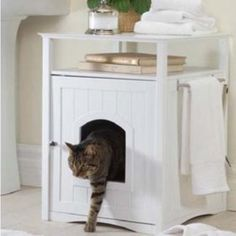 BuyHive, 2-Door, Washroom, Bed, & Nightstand, Cat House, White, 30-in - Walmart.com - Walmart.com Hiding Cat Litter Box, Cat Litter Box Enclosure, Hidden Litter Boxes, Cat Litter Tray, Litter Box Covers, Litter Pan, Cat Litter Cabinet, Side Table Styling, Dog Crate