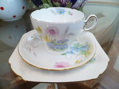 Vintage Shelley China Trio Tea cup Saucer Side Plate I S 0136 Rd No 823343 | eBay
