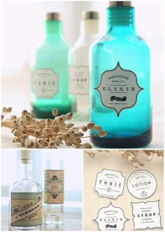 Best Free Printables for Crafts - Free Vintage & Apothecary-Style Labels - Quotes, Templates, Paper Projects and Cards, DIY Gifts Cards, Stickers and Wall Art You Can Print At Home - Use These Fun Do It Yourself Template and Craft Ideas Apothecary Bottles, Bottles And Jars, Glass Bottles, Milk Bottles, Vintage Bottles, Vintage Labels, Printable Vintage, Vintage Tins, Etiquette Vintage