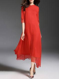 Shop Midi Dresses - Half Sleeve Vintage Silk Swing Midi Dress online. Discover unique designers fashion at StyleWe.com.