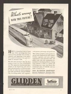 1940 Print Advertisement Railroad AD Glidden Color Paint Train Station Time Test - Advintage Plus