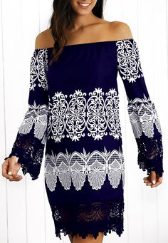 $13.92 Off-The-Shoulder Laciness Paisley Dress