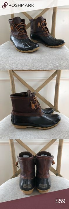 Sperry Duck Boots Size 8 Brown flannel lined boots. No damage and no major wear and tear. Sperry Shoes Winter & Rain Boots