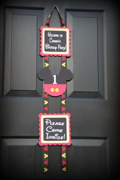 "Mickey Mouse party door sign - ""come inside, it's fun inside!"""