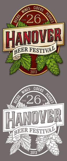 Hanover Beer Festival 2013 on Behance (left image for publicity, right image for single-colour print on beer glasses and t-shirts)