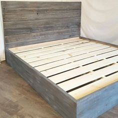 Handcrafted from a mix of woods all customized to give you a sturdy bed while not sacrificing a unique look. The headboard is Reclaimed wood that has a natural worn weathered patina making it a warm and unique piece. The Base is crafted from new(sometimes recycled, but cannot consistently keep up with demand) pine/fir wood and then given a multi-step finish to get that weathered grey wash to match/blend with the old. Shown in 2 pictures of a turqouise slate grey customized finish in a Queen…