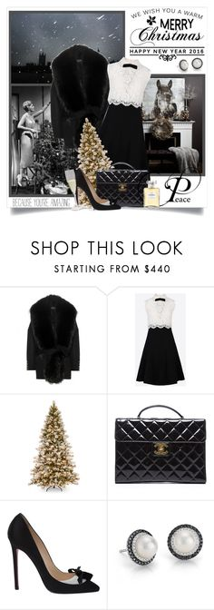 """""""Merry Christmas! xoxo"""" by danielle-broekhuizen ❤ liked on Polyvore featuring Balmain, Valentino, Chanel, Christian Louboutin and Blue Nile"""
