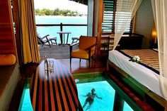 Glass floor! Bora Bora Hut