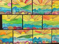 Watercolor Sunsets  5th grade  Apex Elementary Art