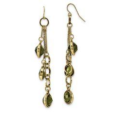 Brass Crystal Dangle Earrings, Women's