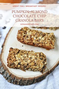 Fall is here! Make these easy and delicious Pumpkin-Almond Chocolate Chip Granola Bars!