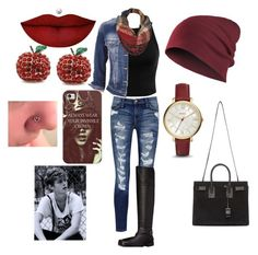 """""""Untitled #90"""" by nikasopkovicova2 on Polyvore featuring Current/Elliott, Miss Selfridge, maurices, Naturalizer, Yves Saint Laurent, Black Rivet, Casetify, FOSSIL and Anastasia Beverly Hills"""