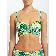 Buy John Lewis Llenya Leaf Multiway Bikini Top, White/Green Online at johnlewis.com