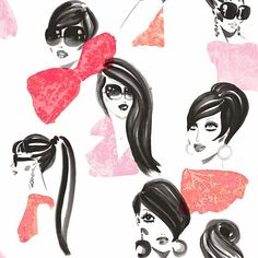Make Up Wallpaper Elegant fashion model headshots. Black and white headshots, posing with blouses in pinks and red. Wallpaper from the Vital collection by Jordi Labanda.