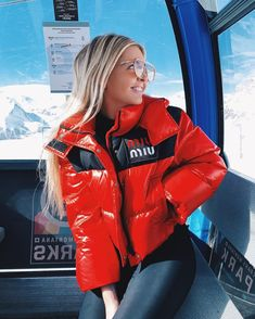 Lizzy Perridon in Switzerland wearing Miu Miu Ski Fashion, Trendy Fashion, Womens Fashion, Rain Jacket, Bomber Jacket, Ski Season, Puffy Jacket, Winter Trends, Cool Girl