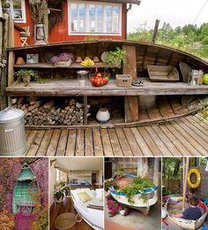 Inspiratie: wat je kunt doen met oude spullen zoals een hout bootje Nice