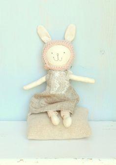 Stuffed Bunny Toy Rag Doll Handmade Bunny doll  by MiniwerkaToys