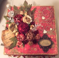 Altered Paper Mache 8x8 Box with all of my handmade flowers!- Scrapbook.com