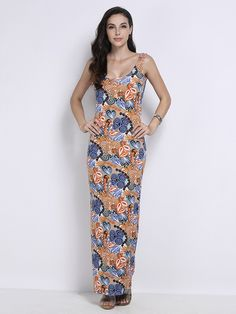 Elegant Women Sleeveless Pattern Printed Bodycon Maxi Sundress is an amazingly comfortable dress which can be worn on a variety of occasions this summer. #women #fashion #minidress #casualdress #formaldress #workdress #womenfashion #onlineshopping #maxidress