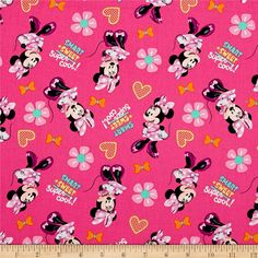 Disney Minnie Pink Smart   Sweet = Super Cool! Pink from @fabricdotcom  From Springs Creative Group and licensed by Disney, this cotton print fabric is perfect for quilting, apparel and home decor accents. Due to licensing restrictions, this item can only be shipped to USA, Puerto Rico, and Canada. Colors include pink, white, black, yellow, orange, and aqua.