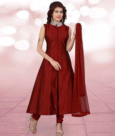 Buy Maroon Taffeta Silk Readymade Anarkali Suit 72151 online at lowest price from huge collection of salwar kameez at Indianclothstore.com.