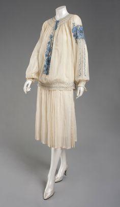 Woman's Ensemble: Overblouse and Dress c. 1922 White cotton voile, blue cotton embroidery Philadelphia Museum of Art