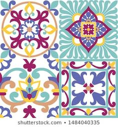 Ornament on Italian tiles, majolica, seamless Classic House Exterior, Italian Tiles, Portfolio, Tile Design, Royalty Free Images, Quilt Blocks, Create Yourself, Iphone Wallpaper, Stencils