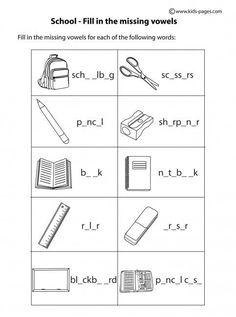 School - Fill In B&W worksheets