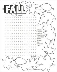 Printable Fall Word Search Puzzle is part of First Day Of Fall crafts - Autumn starts September After the kids have helped rake the leaves and enjoyed the outdoors have them come inside and settle down with our Printable Thanksgiving Activities, Autumn Activities, Thanksgiving Crafts, Craft Activities, Thanksgiving Crossword Puzzle, Fall Word Search, Printable Puzzles, Crossword Puzzles, Printable Cards