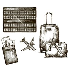 Airplane travel doodles hand drawn vector - by kamenuka on VectorStock®