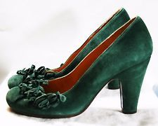 ANTHROPOLOGIE RIBBON SWELL PUMPS EMERALD GREEN SUEDE CHIE MIHARA SHOES 7 $398