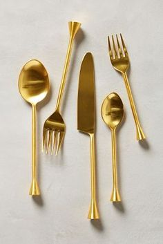 Upgrade Your Dinner Game With This Gold Flatware: Gilded Cornet Flatware at Anthropologie