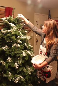 DIY: Homemade Christmas Tree Flocking  | Mockingbird Cottage | Washes off; can be applied after decorating tree, if desired.