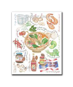 Tom Yum Goong Recipe Poster : PRINTABLE FILE 6 sizes/same price  tomyum food illustration, food art, thai art, thailand poster,kitchen decor
