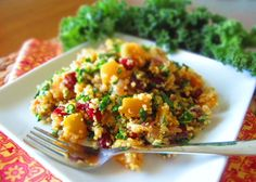 kale, butternut squash & dried cranberry quinoa  (great healthy Thanksgiving side)
