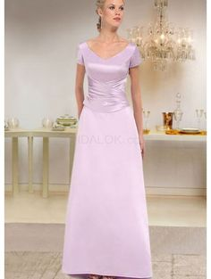 Short Sleevs V-Neck Pleated Waist Floor Length Satin Mother Of Bride And Groom Dress