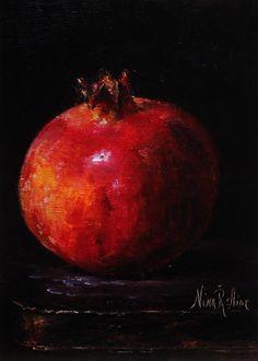 Pomegranate Garnet-Original Oil Painting by Nina R.Aide Still Life Fruit Fine Art Home Wall Decor 7x5 Linen