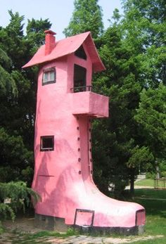 Shoe Houses | Curious, Funny Photos / Pictures          I can be like this silly pink boot shaped house. When I'm around my friends, I can act entertaining and silly almost to the point I seem weird. But that's only how I act on the outside, the moment you open the door and you're inside the house, you'll witness more of a conservative interior.