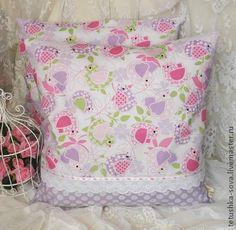 Наволочка Сиреневые пташки - сиреневый,подушка,наволочка,подарок на новоселье