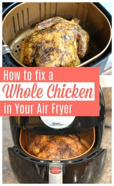 How to fix a whole chicken in your air fryer — it's so easy and the chicken turns out so juicy and delicious! How to fix a whole chicken in your air fryer — it's so easy and the chicken turns out so juicy and delicious! Fryer Chicken Recipes, Air Fryer Recipes Wings, Air Fryer Recipes Chips, Air Fryer Recipes Appetizers, Air Fryer Recipes Vegetables, Air Fryer Recipes Vegetarian, Air Fryer Recipes Low Carb, Air Fryer Recipes Breakfast, Air Frier Recipes