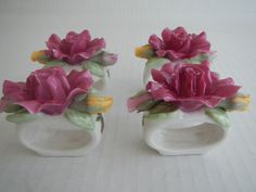 Royal Albert Old Country Roses Napkin Ring Set of 4 Hand Painted Ceramic Kitchen Dining Decor Vintage Floral 152183768322 by BundleJoyShop on Etsy
