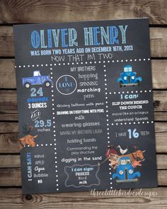 Adorable Little Blue Truck themed poster for your birthday boy (or girl)! This poster matches perfectly with the rest of the Little Blue Truck themed