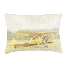"""Take Off Antique Airplane Pillow Poly 16""""x12"""""""