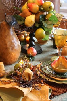 Autumn table with pears. From the Stone Gable blog.