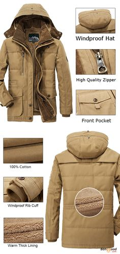 US$99.99 + Free shipping. Size: S~4XL. Color: Blue, Coffee, Army Green, Khaki. Fall in love with casual and outdoor style! Mens Thick Fleece Winter Coat Hooded Outdoor Solid Color Jacket. #coats #jackets #outdoor #men