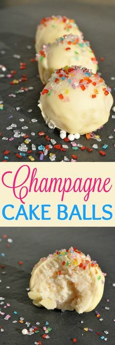 Champagne Cake Balls are the perfect easy dessert to add to your New Year's Eve party spread! I made with Prosecco instead of champagne and they were delicious! A huge hit at the party! Brownie Desserts, Oreo Dessert, Mini Desserts, Easy Desserts, Dessert Recipes, Dessert Simple, Dessert Nouvel An, Yummy Treats, Sweet Treats