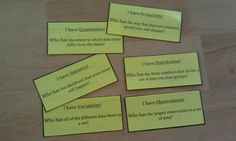 "I Have Who Has makes a great station! Just be sure that all of the cards are distributed to the students in the group. One student begins by reading the ""Who has...."" question from their card. The student with the correct response then reads their whole card. The game is over when all cards have been read.  This game uses all the new vocab from statistics and probability in the common core for middle school math. 21 terms in all. #mathstations"